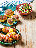 BBQ sides - Marrow salad, Braai buns, Bacon-wrapped mielies