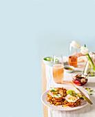 Chilli corn latkes with whipped feta and mackerel