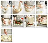 Focaccia mit Antipasti-Füllung zubereiten