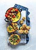 Oven baked polenta with mushrooms, Mushroom French toast, Mushroom arancini and Mushroom tart