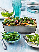 Vegeterian lasagna with kale and mushrooms
