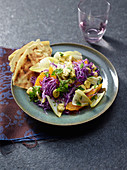 Red cabbage chicory salad with lupins and orange