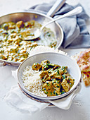 Lamb curry with rice (India)