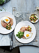 Gammon with egg and pineapple chilli salsa