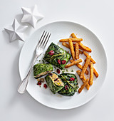 Chard leaves with mushroom and cranberry filling and chard-stem fries