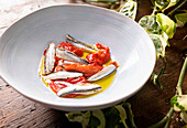 Prepare Anchovies in Vinegar and Roasted Peppers