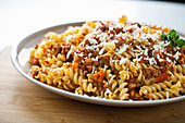 Fusilli with minced meat sauce