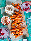 Sweet potatoe stripes, lemonade, dips