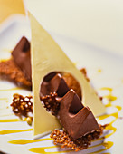 chocolate dessert with Toblerone and brittle