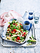 Parsnip penne and chicken salad (Low Carb)