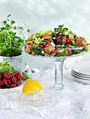 Potato salad with radish, watercress and parmesan