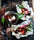 Beets in a bag with Honey and Goat's Cheese