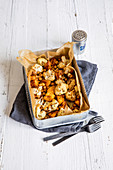 Roasted cauliflower with sweet potatoes and chickpeas