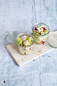 Quick summer salad with cucumber, radishes and feta