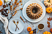 Autumnal pumpkin bundt cake with chai and pecans