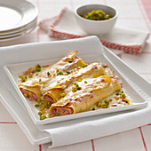 Cannelloni with mortadella and pistachios