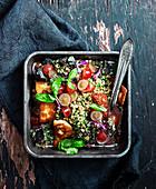 Vegan Haloumi and Kale Pesto Salad