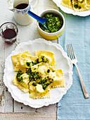 Herbed Ricotta Ravioli with walnut Pesto Sauce