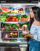 Healthy fruits and vegetable in refrigerator