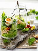 Mason Jar Tomato, Bean and Egg Salad