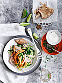 Tuna, Carrot and Zucchini Salad with Pitta Chips