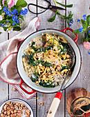 Pasta traybake with hazelnuts, cream, spinach and parmesan