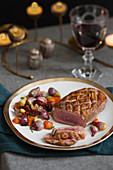 Mandarin and cinnamon duck breast with roast vegetables