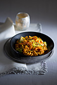 Fusilli with shrimp and leek in green tea curry sauce