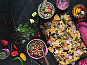 Texmex roasted nachos with chilli, coriander, lime, pickled red onion, radish, black beans and cheese