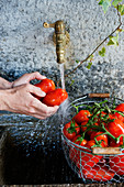 Tomatoes being washed under a tap