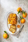 Mandarine loaf cake with mandarine caramel sauce