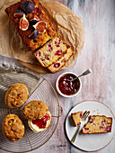 Breakfast with scones and fig loaf cake