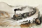 Steam locomotive, illustration