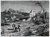 Gunpowdrer explosion in France, illustration