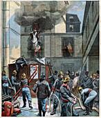 Firemen in Paris, illustration