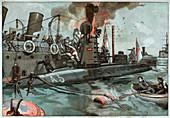Explosion of a submarine, illustration