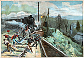 Workers killed by a train, illustration