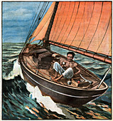 Alain Gerbault circumnavigating the world, illustration