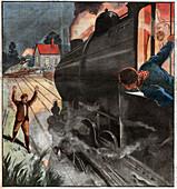 Crash on a level crossing, illustration