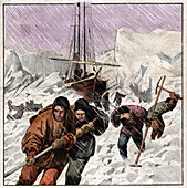 Boat stuck in the ice, illustration