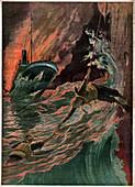 Shipwreck of the SS Volturno, illustration