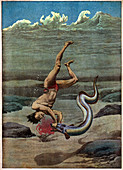 Duke Kahanamoku attacked by eel, illustration