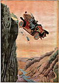 Suicide in a car, illustration
