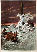 Resupplying of a lighthouse, illustration