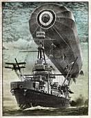 British warship, illustration