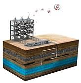 Carbon capture technology, illustration