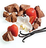Chocolate, vanilla and strawberries