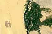 Solar park near the Nile in Egypt, satellite image