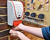Hand-sanitising gel being used during coronavirus outbreak