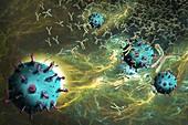 Antibodies responding to coronavirus particles, illustration